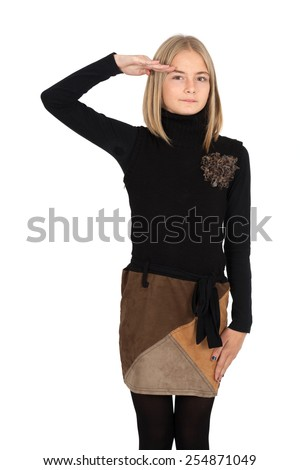 Beautiful girl doing different expressions in different sets of clothes: - stock photo