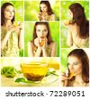 Beautiful Girl Drinking Healthy Green Tea. Collage. Healthcare or Herbal medicine concept - stock photo