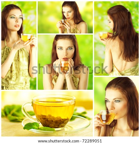 Beautiful Girl Drinking Healthy Green Tea. Collage. Healthcare or Herbal medicine concept