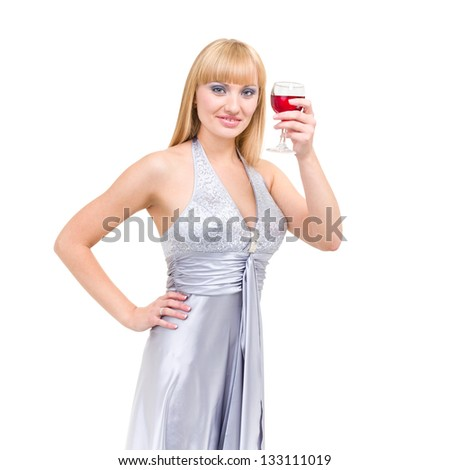 Beautiful girl drinking red wine isolated on white background - stock photo