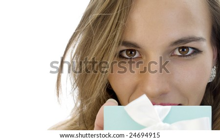 Beautiful Girl either Receiving or Offering a Surprise Gift. - stock photo