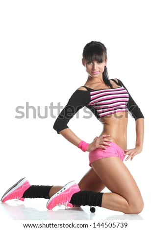 beautiful girl engaged in fitness - stock photo