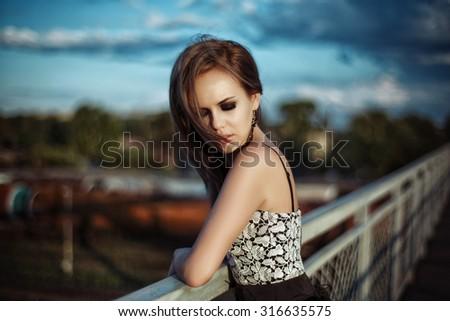 beautiful girl enjoying the freshness - stock photo