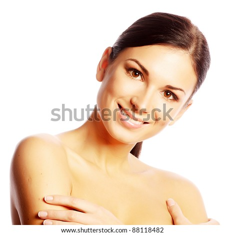 Beautiful Girl face.Perfect skin. - stock photo