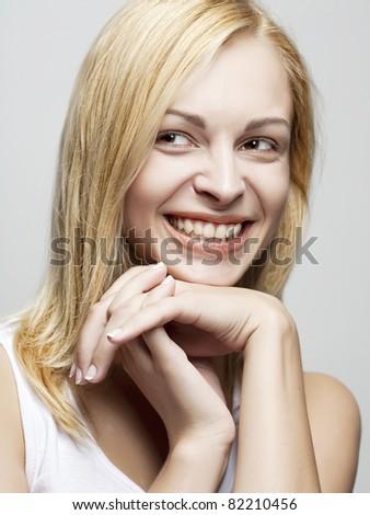 Beautiful Girl face.Perfect skin concept - stock photo