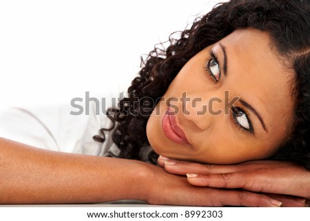 beautiful girl face portrait leaning on her hands - stock photo