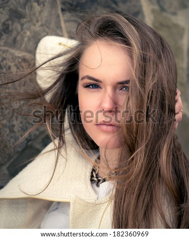 Beautiful Girl face. The perfect clear skin. Photo toned style instagram filters - stock photo