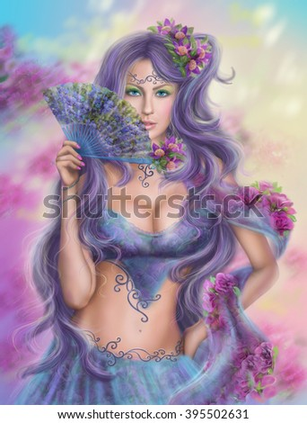 beautiful girl fantasy with  fan - stock photo
