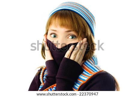 beautiful girl feels cold isolated against white background - stock photo