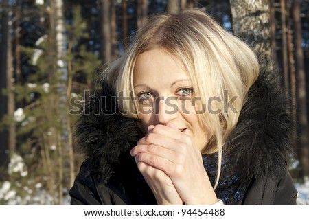 beautiful girl freezes in nature in winter - stock photo