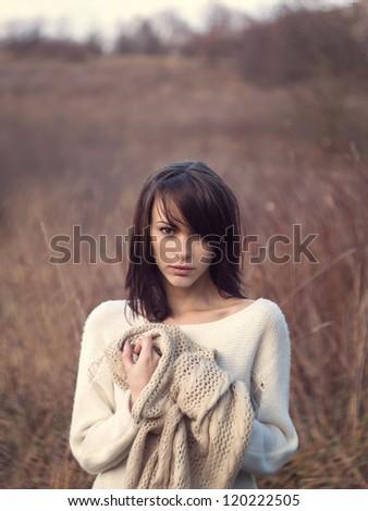 Beautiful girl freezing outdoor - stock photo