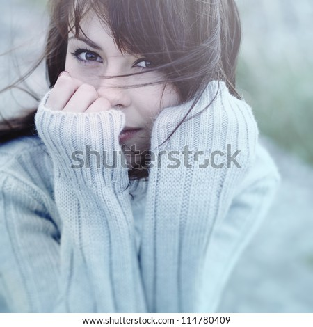 Beautiful girl freezing outdoor, autumn, cold, blue - stock photo