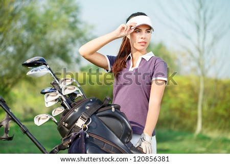 beautiful girl golf player portrait