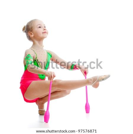 beautiful girl gymnast doing exercises over white - stock photo