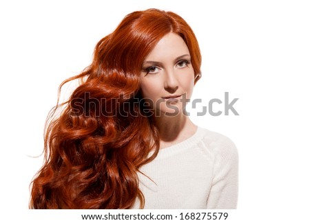 Beautiful Girl. Healthy Long Hair. White Background - stock photo
