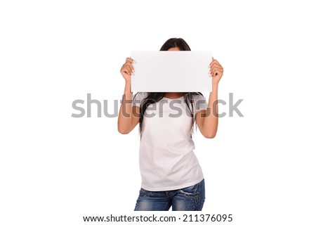 Beautiful girl holding a blank billboard isolated on white background  - stock photo