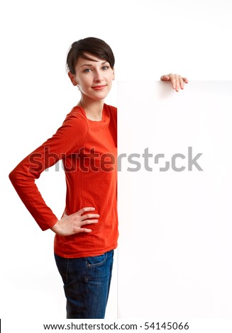 beautiful girl holding an empty white board ready to be filled with some text - stock photo