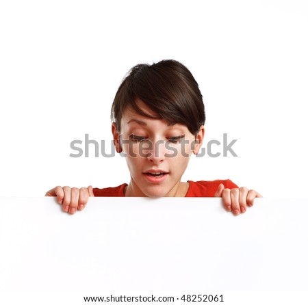 beautiful girl holding an empty white board ready to be filled with some text, on white background