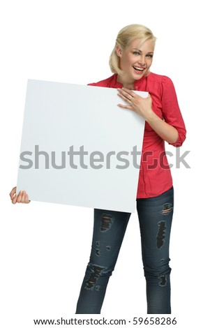 Beautiful Girl Holding clear white card - copy space! - stock photo