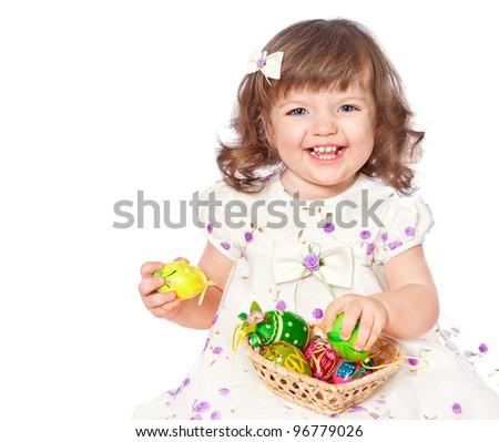 Beautiful girl holding Easter eggs - stock photo