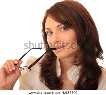 Beautiful girl holding in her hand glasses. - stock photo