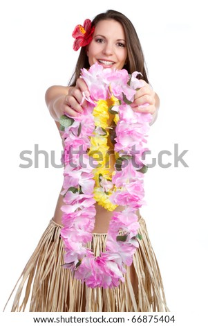 Beautiful girl holding tropical lei - stock photo