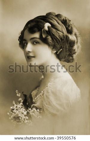 Beautiful girl in 1910 - stock photo