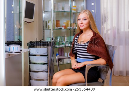 beautiful girl in a beauty salon, hair care - stock photo