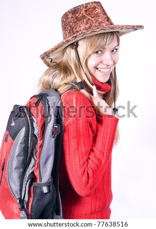 beautiful girl in a cowboy hat - stock photo