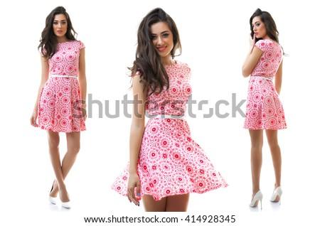 Beautiful girl in a dress - stock photo