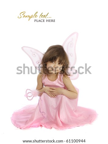 beautiful girl in a fairy costume with butterfly wings - stock photo