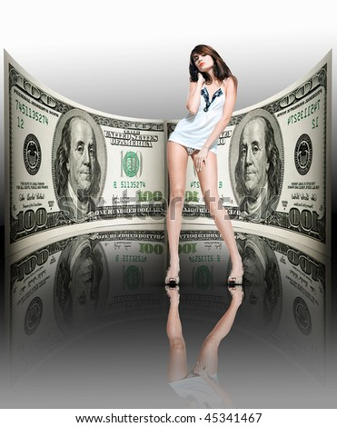 Beautiful girl in a female underwear. Money, 100 american dollars - stock photo