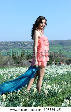 beautiful girl in a meadow - stock photo