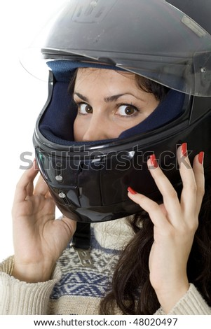 beautiful girl in a motorcycle helmet on a white background - stock photo