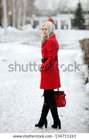Woman Red Coat Stock Images, Royalty-Free Images & Vectors ...