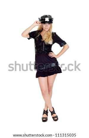 Beautiful girl in a uniform of  police officer on a white background - stock photo
