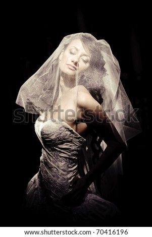 beautiful girl in a wedding dress with veil with closed eyes