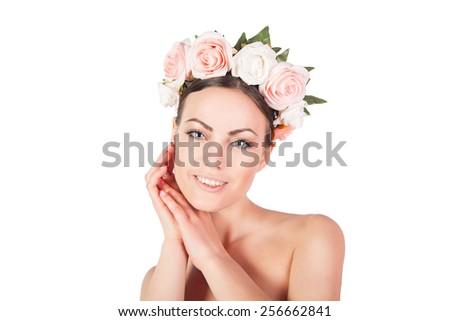 beautiful girl in a wreath smiling - stock photo