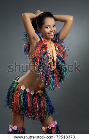 Beautiful girl in african dance suit