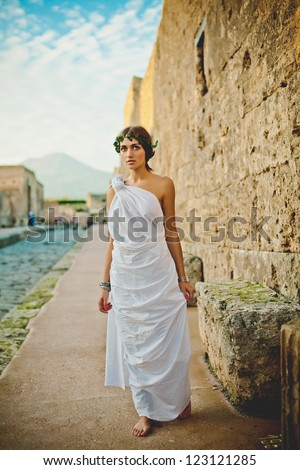 Beautiful girl in ancient style - stock photo