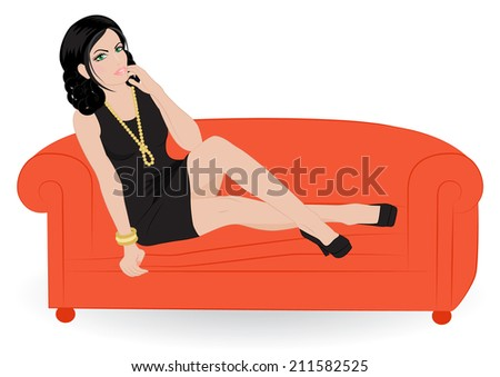 beautiful girl in black dress sitting on a sofa