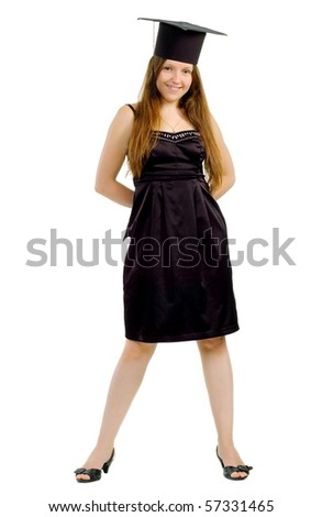 Beautiful girl in black gown and hat of the master pose on white background is insulated