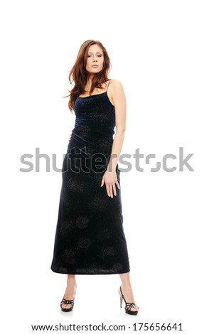 Beautiful girl in blue dress over white background  - stock photo