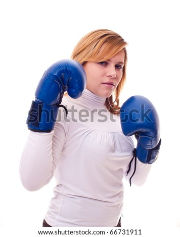 beautiful girl in boxing gloves - stock photo