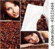 Beautiful girl in coffee collage - stock photo