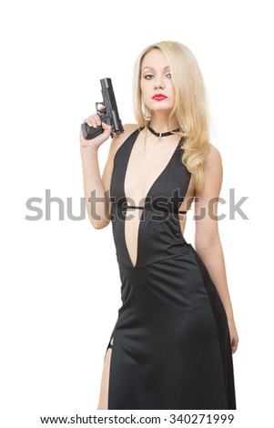 beautiful girl in evening dress holding gun. Isolated on white background - stock photo