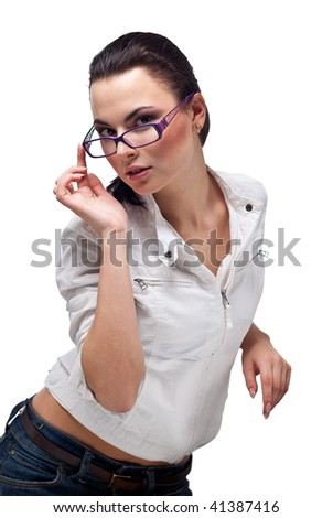 beautiful Girl in glasses on a white background