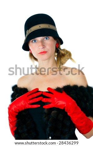 beautiful girl in hat and red gloves, isolated on white - stock photo