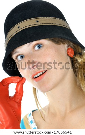Beautiful girl in hat shows OK, isolated on white - stock photo