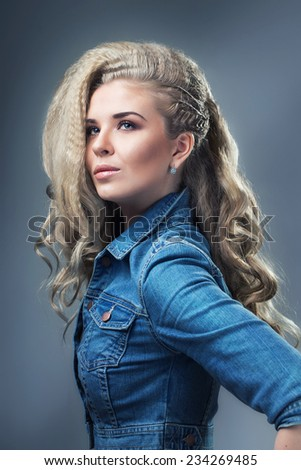 Beautiful girl in jacket - stock photo